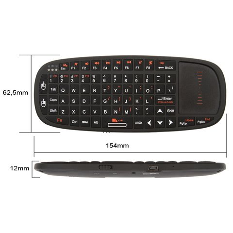 Беспроводная мини клавиатура с тачпадом и указкой черная