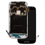 LCD compatible with Samsung I9500 Galaxy S4, (black, with touchscreen, with front panel, original (change glass) )