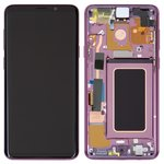 LCD compatible with Samsung G965 Galaxy S9 Plus, (purple, with touchscreen, with frame, Original (PRC), lilac Purple, original glass)