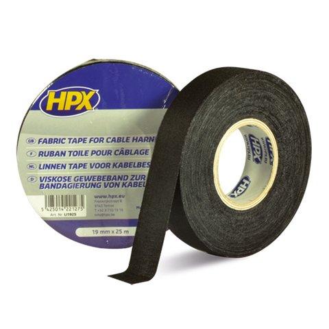 Стрічка ізоляційна тканинна HPX 19 мм, 25 м, чорна картонна упаковка